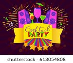 cocktail party lettering on... | Shutterstock .eps vector #613054808