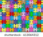 colors jigsaw puzzle pieces... | Shutterstock .eps vector #613064312