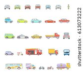 stylish retro car line icons... | Shutterstock . vector #613073222