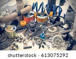 a lot of different auto spare... | Shutterstock . vector #613075292