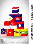 asean flag box concept eps file ...   Shutterstock .eps vector #613079306
