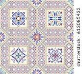 seamless ceramic tile with... | Shutterstock .eps vector #613085432
