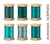 thread spool set. bright old... | Shutterstock . vector #613090352