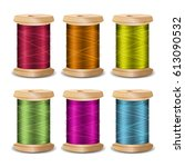 thread spool set. bright old... | Shutterstock . vector #613090532