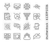 data analysis icon set.... | Shutterstock .eps vector #613091036