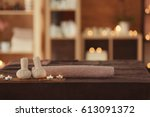 spa composition on blurred... | Shutterstock . vector #613091372