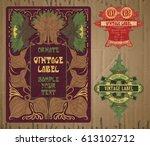 vector vintage items  label art ... | Shutterstock .eps vector #613102712