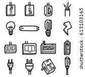 electrical objects  icons set   ... | Shutterstock .eps vector #613103165