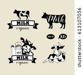 set of vector emblems. cow and... | Shutterstock .eps vector #613107056