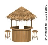 illustration beach bar thatch.... | Shutterstock .eps vector #613111892