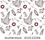 Seamless Pattern With Fishing...