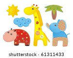 Children Applique 'Africa': elephant, hippopotamus and giraffe - stock vector