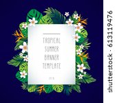 tropical summer banner template....   Shutterstock .eps vector #613119476