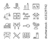 a b testing line icon set.... | Shutterstock .eps vector #613129742