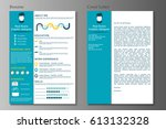 resume and cover letter... | Shutterstock .eps vector #613132328