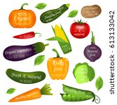 set of vegetables labels with... | Shutterstock .eps vector #613133042