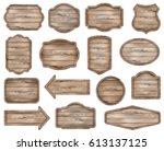 wooden stickers  label... | Shutterstock .eps vector #613137125