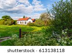 Rural House Garden Tree And...
