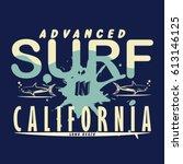 surf. california . typography.... | Shutterstock .eps vector #613146125