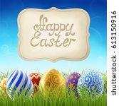 background for easter holiday ... | Shutterstock .eps vector #613150916