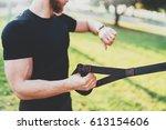 healthy smart lifestyle concept.... | Shutterstock . vector #613154606