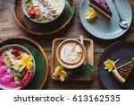 healthy breakfast made of... | Shutterstock . vector #613162535