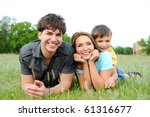 happy beautiful young family...   Shutterstock . vector #61316677