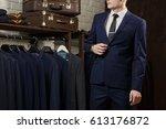elegant young handsome man in... | Shutterstock . vector #613176872