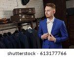 elegant young handsome man. a... | Shutterstock . vector #613177766