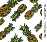 seamless pattern with... | Shutterstock .eps vector #613190546