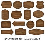 wooden stickers  label... | Shutterstock .eps vector #613196075