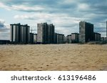 high rise unfinished houses on... | Shutterstock . vector #613196486