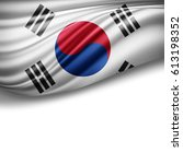 south korea flag of silk with... | Shutterstock . vector #613198352