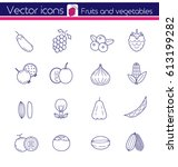 purple fruit and vegetables ... | Shutterstock .eps vector #613199282