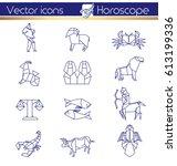 origami horoscope  line vector...   Shutterstock .eps vector #613199336