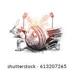 cricket player with ball helmet ... | Shutterstock .eps vector #613207265