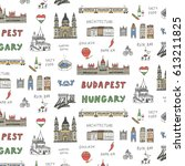 budapest hungary attraction... | Shutterstock .eps vector #613211825