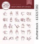 line icons gestures of hands | Shutterstock .eps vector #613217282