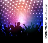 silhouette of a party crowd on... | Shutterstock .eps vector #613218812