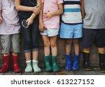 group of kindergarten kids... | Shutterstock . vector #613227152