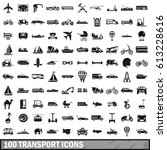 100 transport icons set in... | Shutterstock . vector #613228616