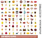 100 menu icons set in flat... | Shutterstock . vector #613229882