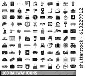 100 railway icons set in simple ... | Shutterstock . vector #613229912