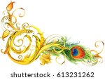 peacock feather and golden lace ... | Shutterstock . vector #613231262