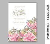 peony wedding invitation... | Shutterstock .eps vector #613232036