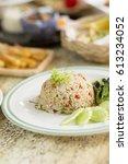 fried rice with mackerel... | Shutterstock . vector #613234052