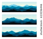 outdoor banners with mountain... | Shutterstock .eps vector #613236446