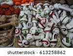 fake bone for dog  the white... | Shutterstock . vector #613258862