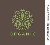 green leafs logo. yoga sign.... | Shutterstock .eps vector #613264442