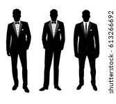 wedding men's suit and tuxedo.... | Shutterstock .eps vector #613266692